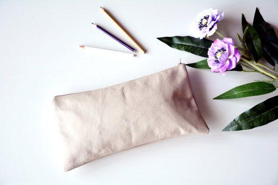 Nude clutch clutch purse genuine leather bag by AliceCloset