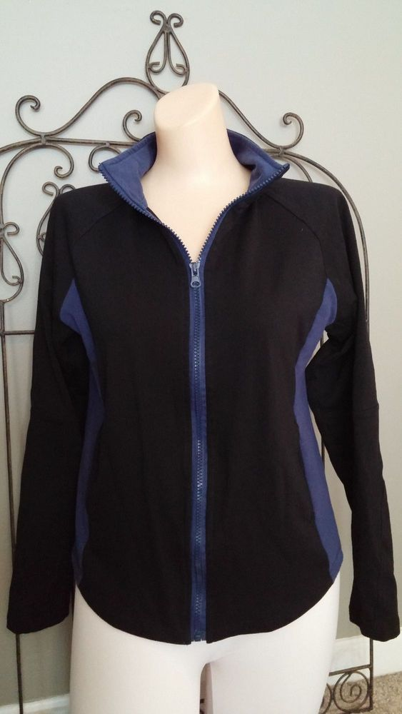 CENTRAL PARK Women's Activewear Jacket Zips Stand-Up Collar Black Blue Size S #CentralPark #BaseLayers