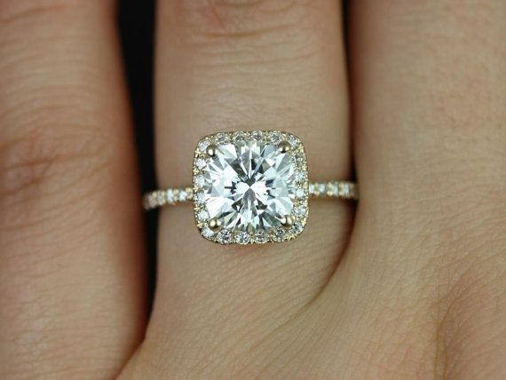 Pernella 14kt Yellow Gold Cushion FB Moissanite and by RosadosBox. I am in love! Like one of my dream engagement ring!