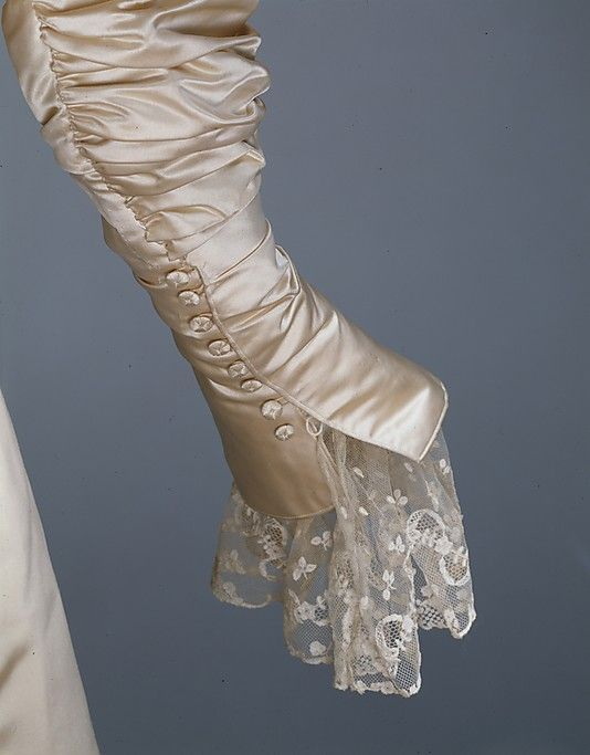 Wedding Dress (detail) House of Worth  (French, 1858–1956) Date: 1896 Culture: French Medium: silk, pearl