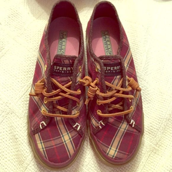 Authentic Sperry Sneakers Plaid shoes with maroon, white, purple, green colors Sperry Top-Sider Shoes
