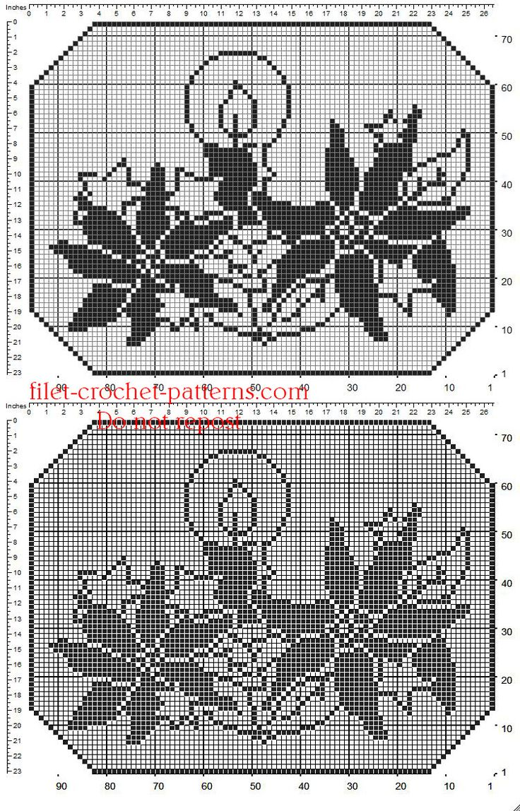 Christmas crochet filet doily with candles and stars - free filet crochet patterns download