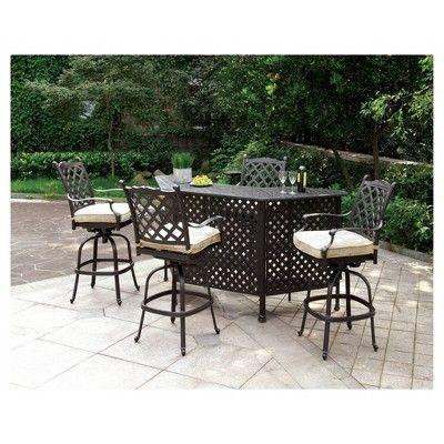 Landen 5pc Transitional Basket Weave Design Bar Set - Bronze and Tan - Furniture of America, Bronze Brown
