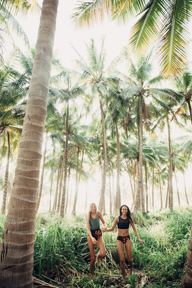 Seeing happy, cute friends enjoying life in our swims is our very favorite thing! These two sweet girls are wearing our NEW Castaway One Piece Swimsuit and our fabulous NEW Maria Crop (swim top + sports bra) + Grove Hipster Swim Bottoms! These swimmies are both slimming, flattering and super comfortable! No matter which you choose, you'll be feeling and looking good at the beach! Sea you there ;) | albionfit.com