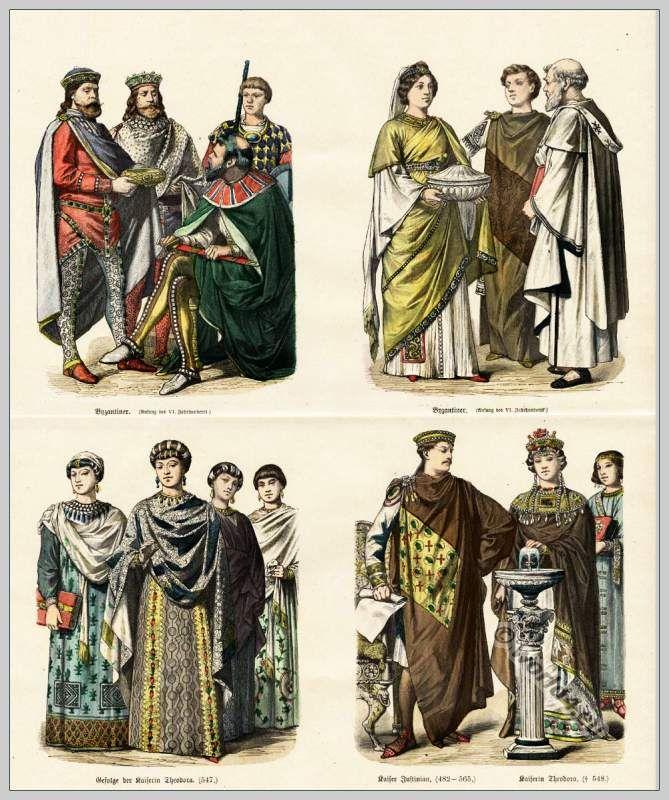Byzantium costumes. First half of the VI. Century.