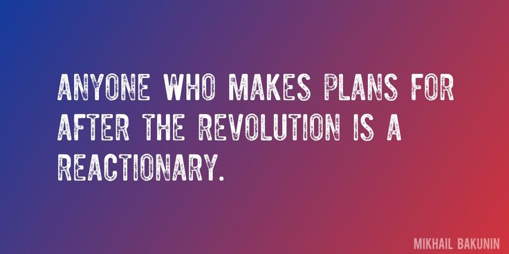 Quote by Mikhail Bakunin => Anyone who makes plans for after the revolution is a reactionary.