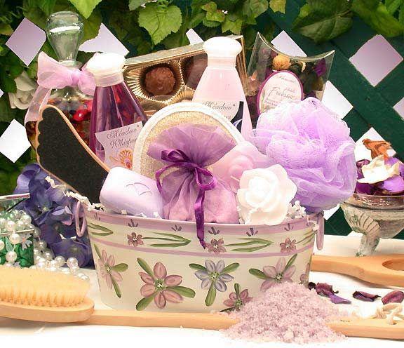 "Beautiful ""Dollar Store"" gift basket: Loofah, soap, lotion, bubble bath, potpurri, chocolates..."
