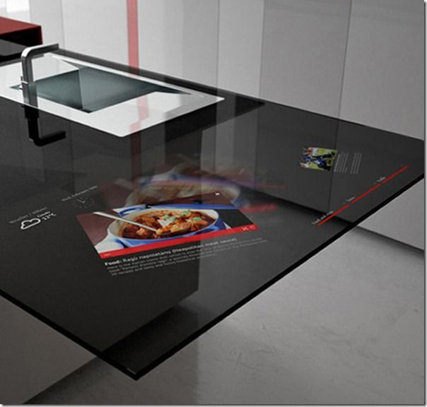 countertop turns into a screen so you can view recipies, music, movies, the weather and much more