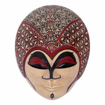 Novica Gadis Desa Hand Painted Javanese Wood Batik Mask Wall Décor