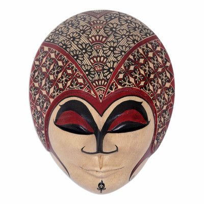 Novica Gadis Desa Hand Painted Javanese Wood Batik Mask Wall Décor