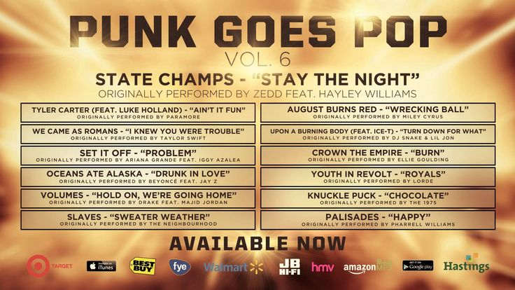 "State Champs ""Stay The Night"" (Originally performed by Zedd feat. Hayley Williams) taken from Punk Goes Pop Vol. 6"