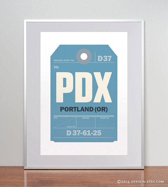 Portland, Oregon, PDX. Luggage Tag Poster. Baggage Tag Print. Travel Poster. Airport Code. A3. 11x14.