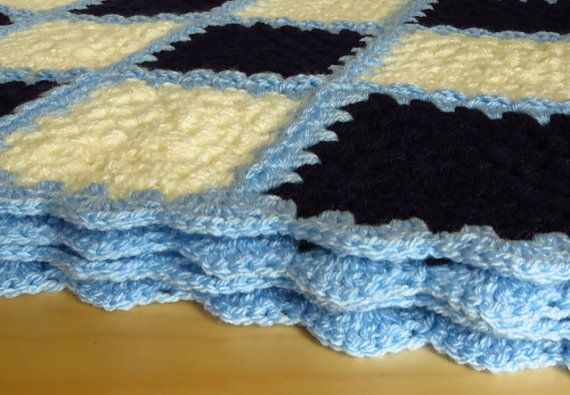 Blue Baby Blanket Blue Blanket 31.5x31.5 by PhoenixSmiles on Etsy