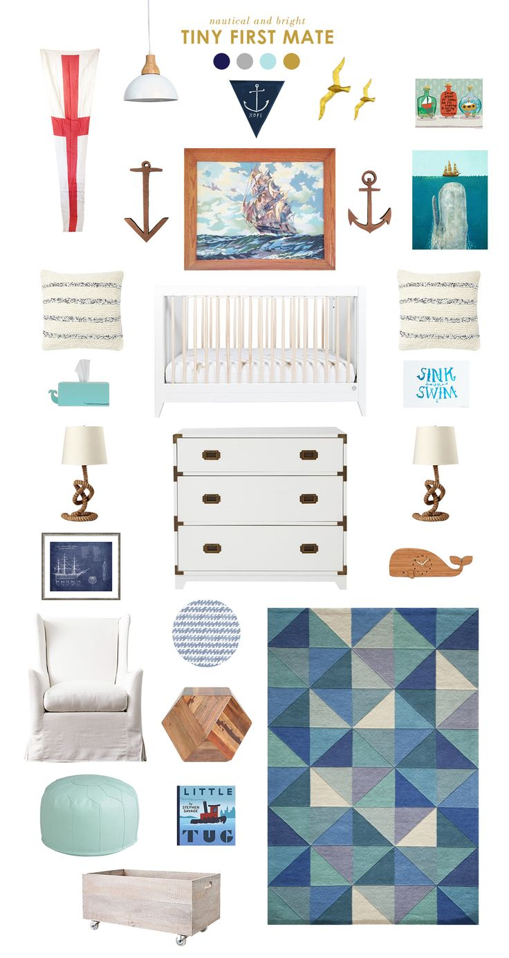 Tiny First Mate: A nautical nursery inspired by the Anchors & Stripes diaper pattern by Honest! #DreamTeam #PinToWin