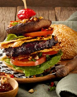 Mouthwatering Ostrich tower burgers for the whole family to enjoy!  #winterwarmers #moreforless