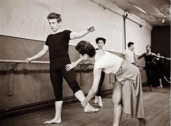 James Dean taking dance classes in 1955