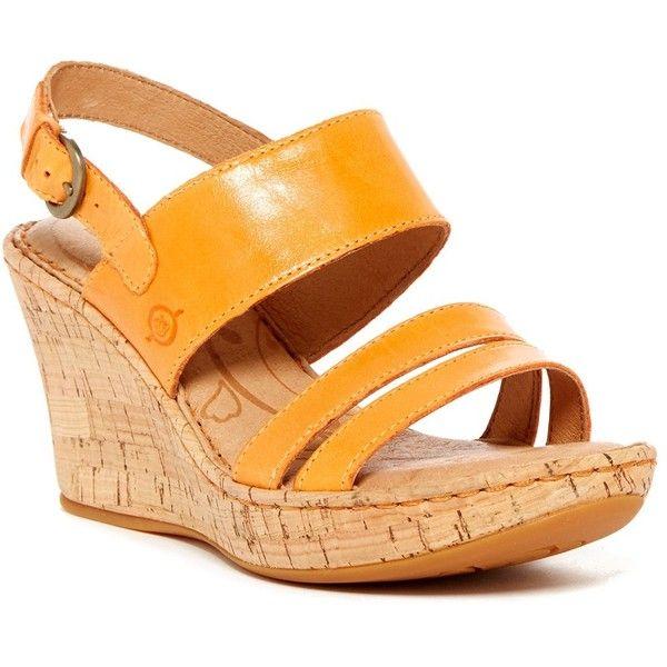 Born Amabel Wedge Sandal ($50) ❤ liked on Polyvore featuring shoes, sandals, orange, wedge shoes, platform wedge shoes, ankle strap wedge sandals, platform shoes and ankle wrap wedge sandals