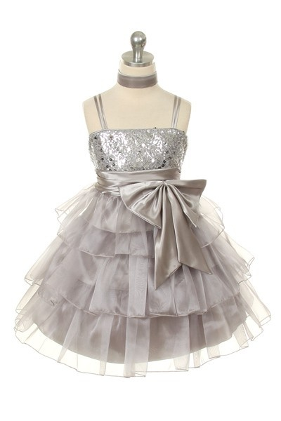 Organza Flower Girl Dress - Silver - Flower Girl Dresses