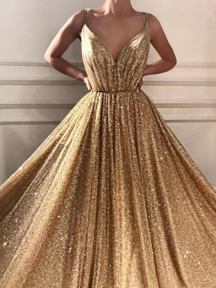 Sparkly Prom Dresses Spaghetti Straps A-line Gold Bling Long Sexy Prom Dress 57a52dcc8a7c