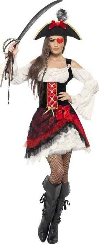 Edles Seeräuber-Kostüm für Damen: Dieses edle Seeräuber-Kostüm für Damen enthält ein Kleid und einen Hut. (Säbel, Augenklappe, Strumpfhose und Stiefel nicht enthalten)Der obere Teil des Kleids ist...