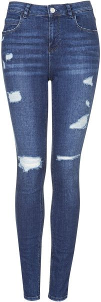 Love this: TOPSHOP Moto Authentic Ripped Skinny Jeans Stone @Lyst