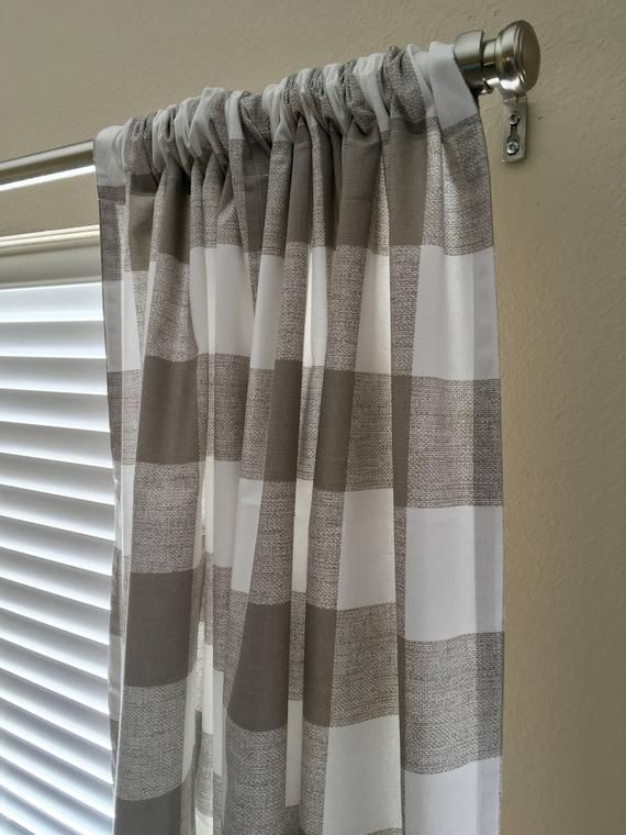 PLAID CHECK GREY BEIGE LINED 100/% COTTON RING TOP CURTAINS *7 SIZES*