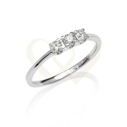 Fehér arany eljegyzési gyűrű gyémánt kővel.Gyémánt súlya: 0,45 CT.