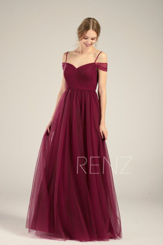40a162ee481812 Wine Prom Dress Long Off Shoulder Sweetheart Tulle Dress (HS709) in ...
