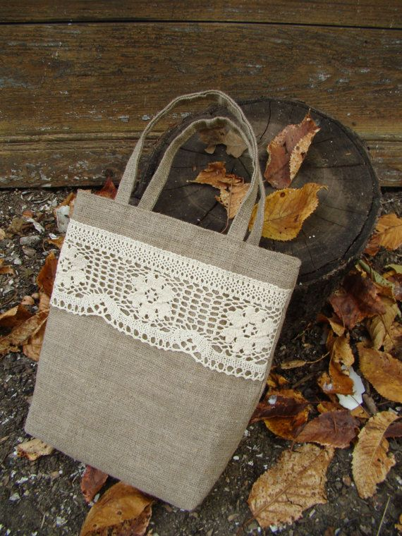 Canvas small gift bag with natural tape. Linen gift by MissFreesia