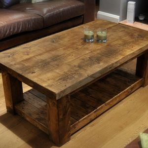 Reclaimed Chunky Rustic Pine Solid Wood Coffee Table Handmade In The Uk