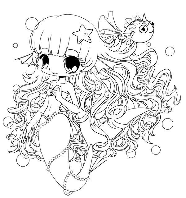 Coloring Pages For Girls: Chibi Mermaid Colouring Pages