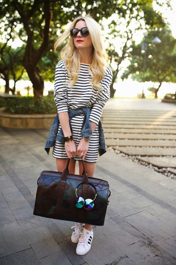 Dress: Zara (similar here). Shoes: Adidas (similar). Denim Jacket: Levi (similar). Bag: Frank...