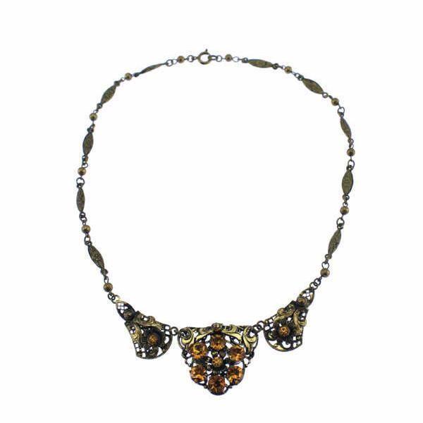 Art Nouveau Brass Flower Necklace with Topaz Rhinestones