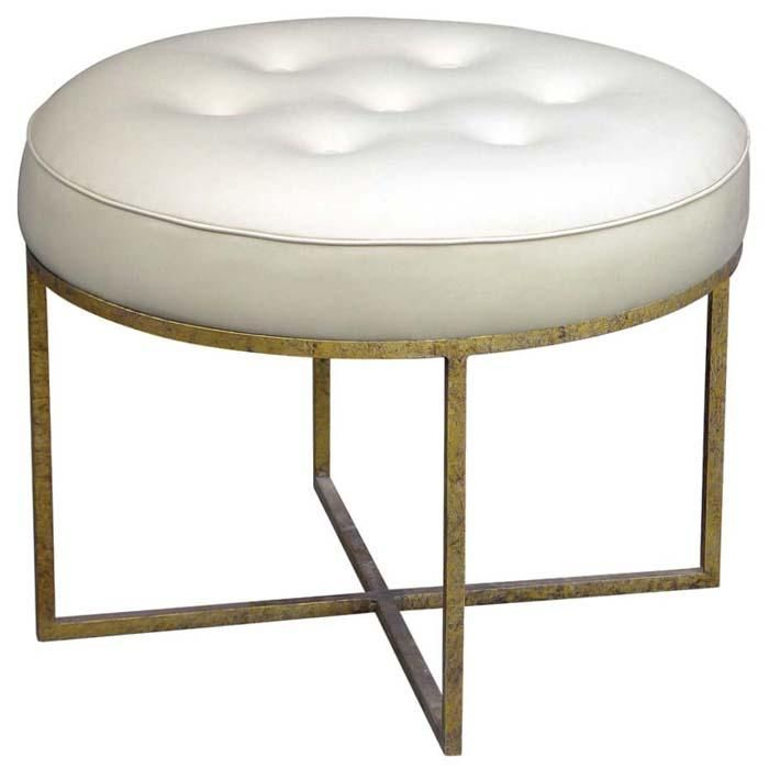 High Quality The Jonathan Stool Is A Round, Tufted Upholstered Stool With A Simple,  Slender Metal Base. Base Available In Either Antiqued Gold Or Antiqued  Silver. Part 7