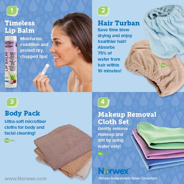 Norwex (1) Timeless Lip Balm, (2) Hair Turban, (3) Body Pack, (4) Makeup Removal Cloth Set. For Facebook parties, online events and marketing.