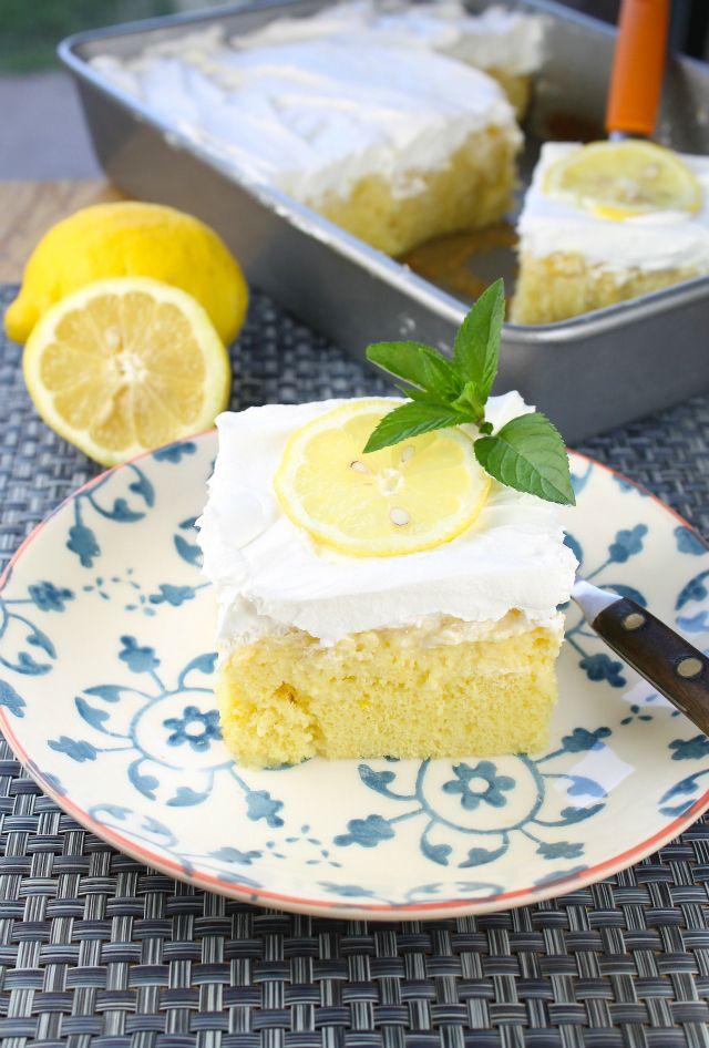 Lemon-Pineapple Poke Cake  from Miss in the Kitchen
