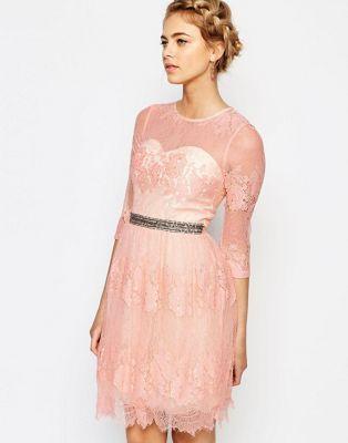 Little Mistress Lace Dress with Waist Embellishment