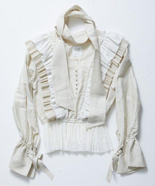 UNITED TOKYO(ユナイテッドトウキョウ)の「カールマイヤープリーツフリルブラウス(シャツ/ブラウス)」|ホワイト