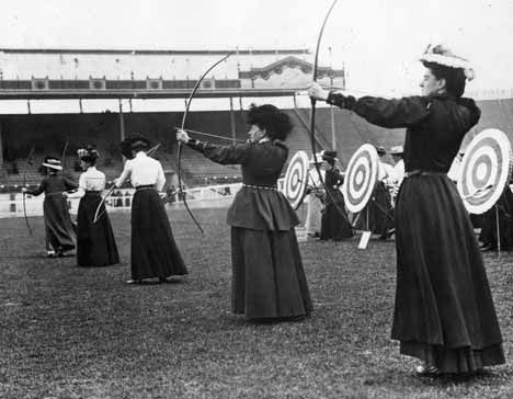 Olympics were held in London 1908.  The women's archery competition was won by Britain's Sybil 'Queenie' Newall