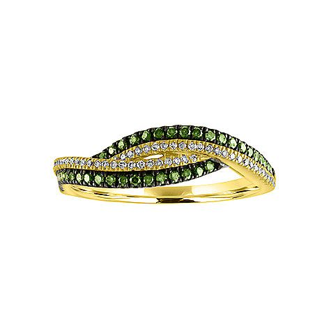 165-252 - Colors of Prism™ 14K Green Gold 0.34ctw Lily White & Mint Leaf Green Diamond Ring - Size 7