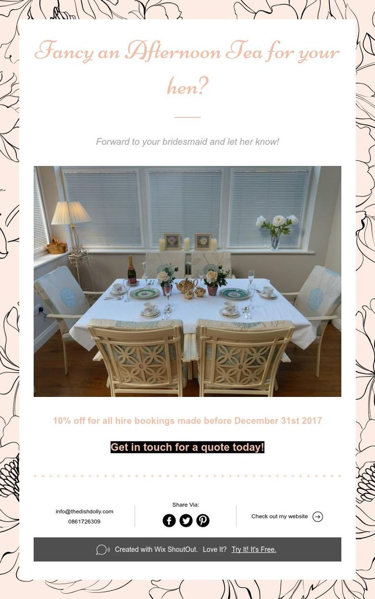 Fancy an Afternoon Tea for your hen?