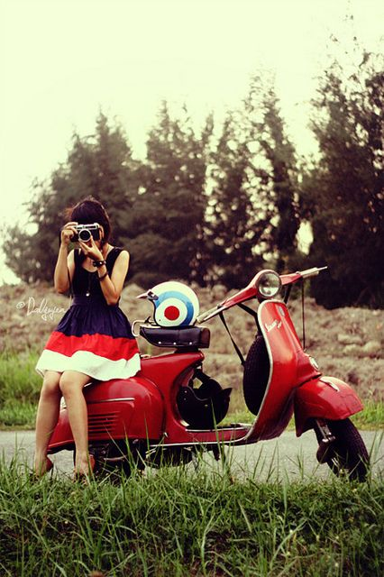into the woods to take photos of my friend. Bet she wishes she had a Kate Spade Vespa to #ridecolorfully