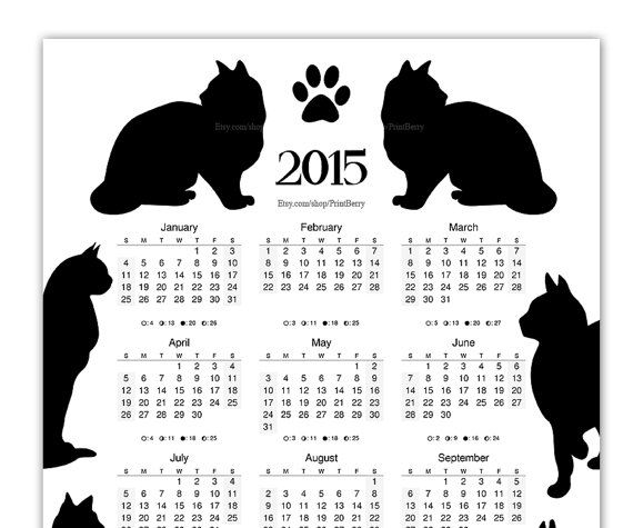 Printable Cat Calendar 2015 Yearly calendar by PrintBerry on Etsy, $5.00