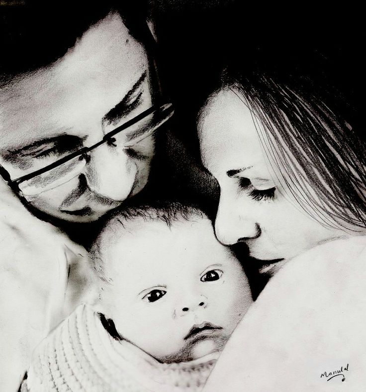 Pencil Drawing, Family Love