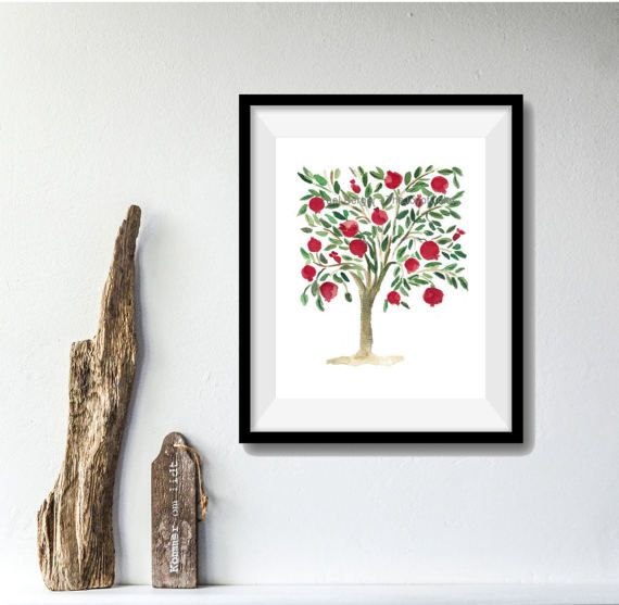 Pomegranate Tree folk art inspired Art by TheJoyofColor on Etsy