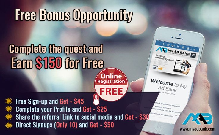 Myadbank Launches an Incredible Offer (for limited Period) which makes you to Earn $150 For Free.... Go grab the Offer and Enjoy Campaign...