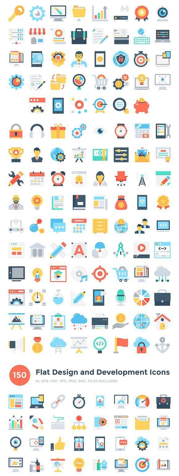 150 Flat Design & Development Icons #designanddevelopment #coloredicons