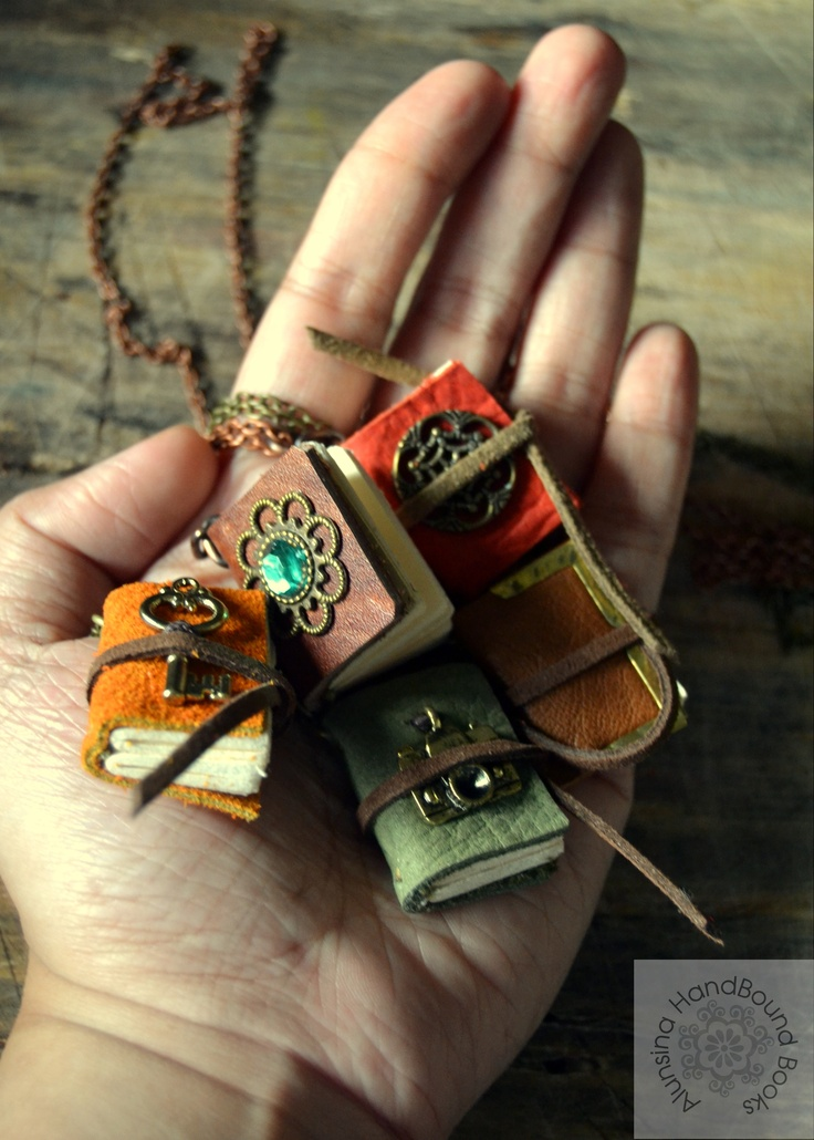 Mini journal necklaces by Alunsina Handbound Books