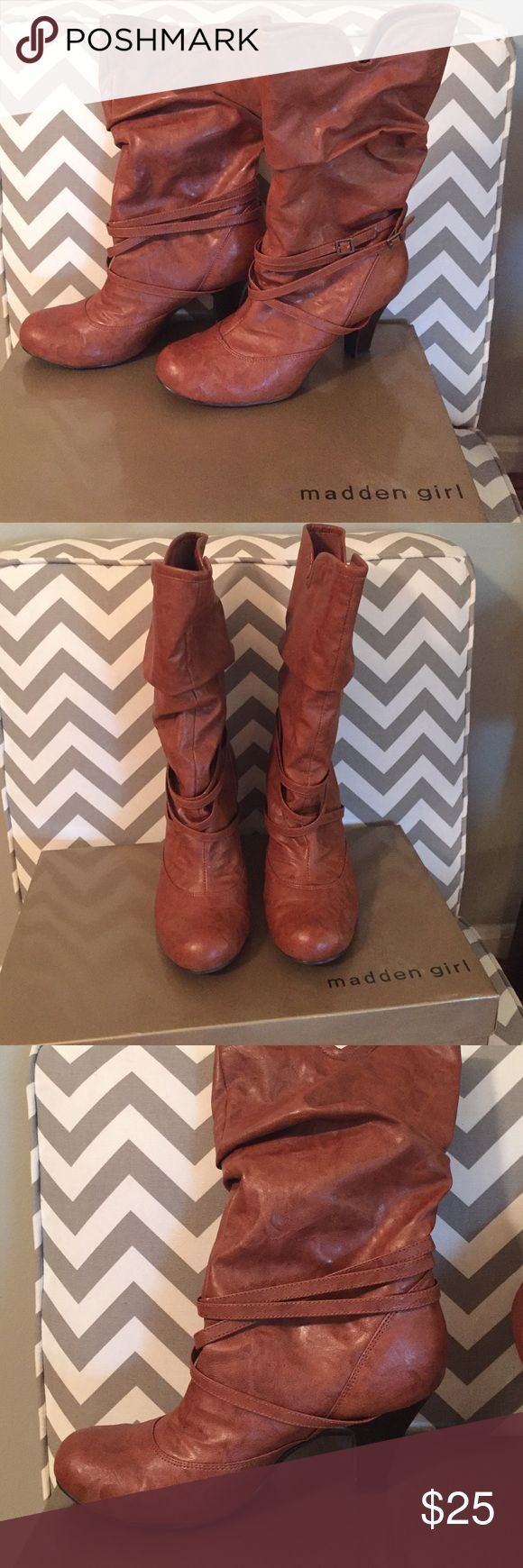 Madden Girl Tan boots size 8.5 Perfect for fall 🍁. Beautiful tan boots made by Madden Girl. Round toe, 3 inch heel, skinny leather buckle detail. Size 8.5. Worn only 1 time. In almost perfect condition and comes with box. Madden Girl Shoes Heeled Boots