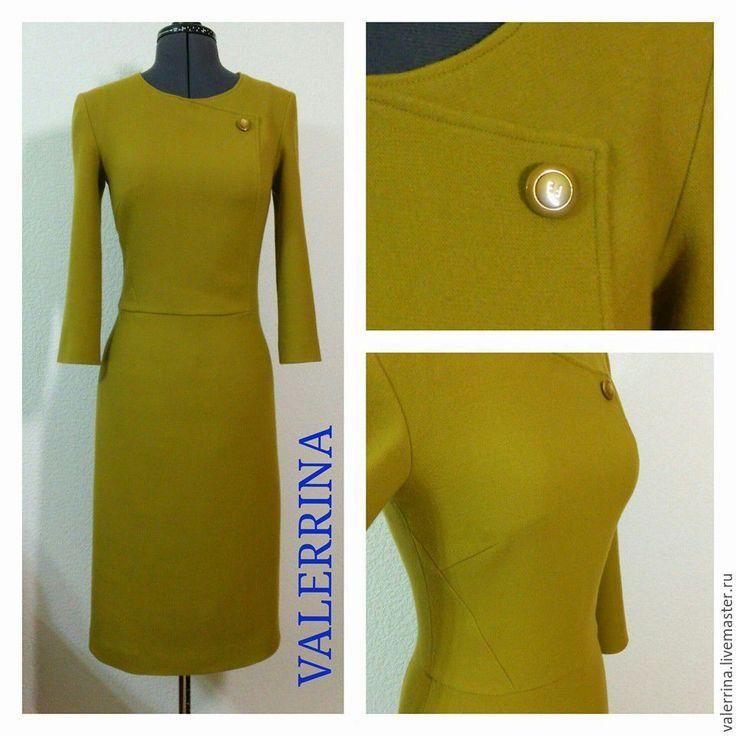 Купить Платье с декоративным запахом - оливковый, Платье нарядное, платье повседневное, платье оригинальное